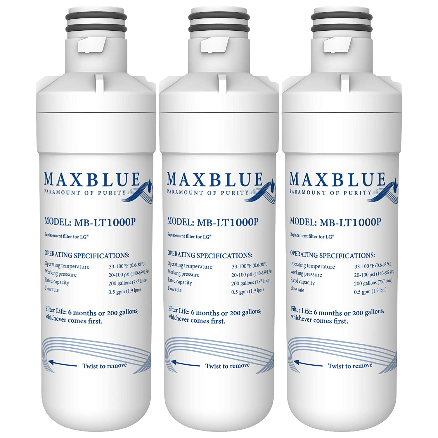 3 Pack Refrigerator Water Filter Replacement for LG-LSXS26336S