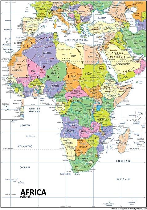 Cartina Geografica Italia Africa.Africa Mappa Politica Carta Plastificata A1 Misura 59 4 X 84 1 Cm Amazon It Cancelleria E Prodotti Per Ufficio