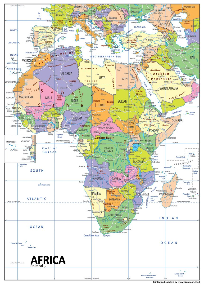 Tiger Moon Giant A0 Paper Laminated Africa Political Map for Hanging on Wall//Displaying on Desk