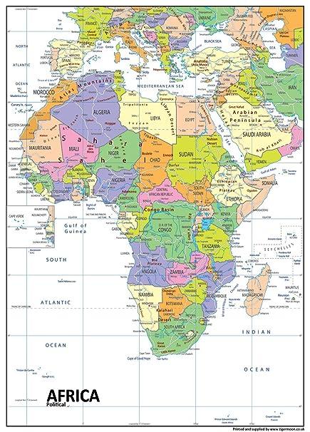 Africa Immagini Cartina.Africa Mappa Politica Carta Plastificata A1 Misura 59 4 X 84 1