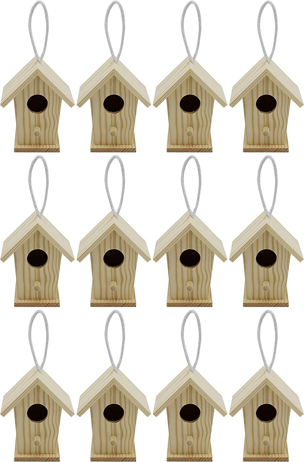 Creative Hobbies 12-Pack of Mini Wooden Bird Houses to Paint, with Hanging Cords, Unfinished DIY Design Your Own Great for Crafts, Weddings, Bible Camp and More!