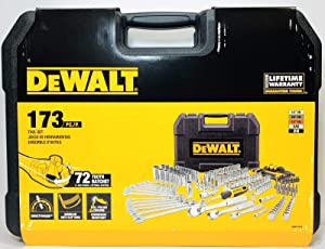 DEWALT 173 PC Full Polish Chrome Mechanics Tool Set and Hard Case