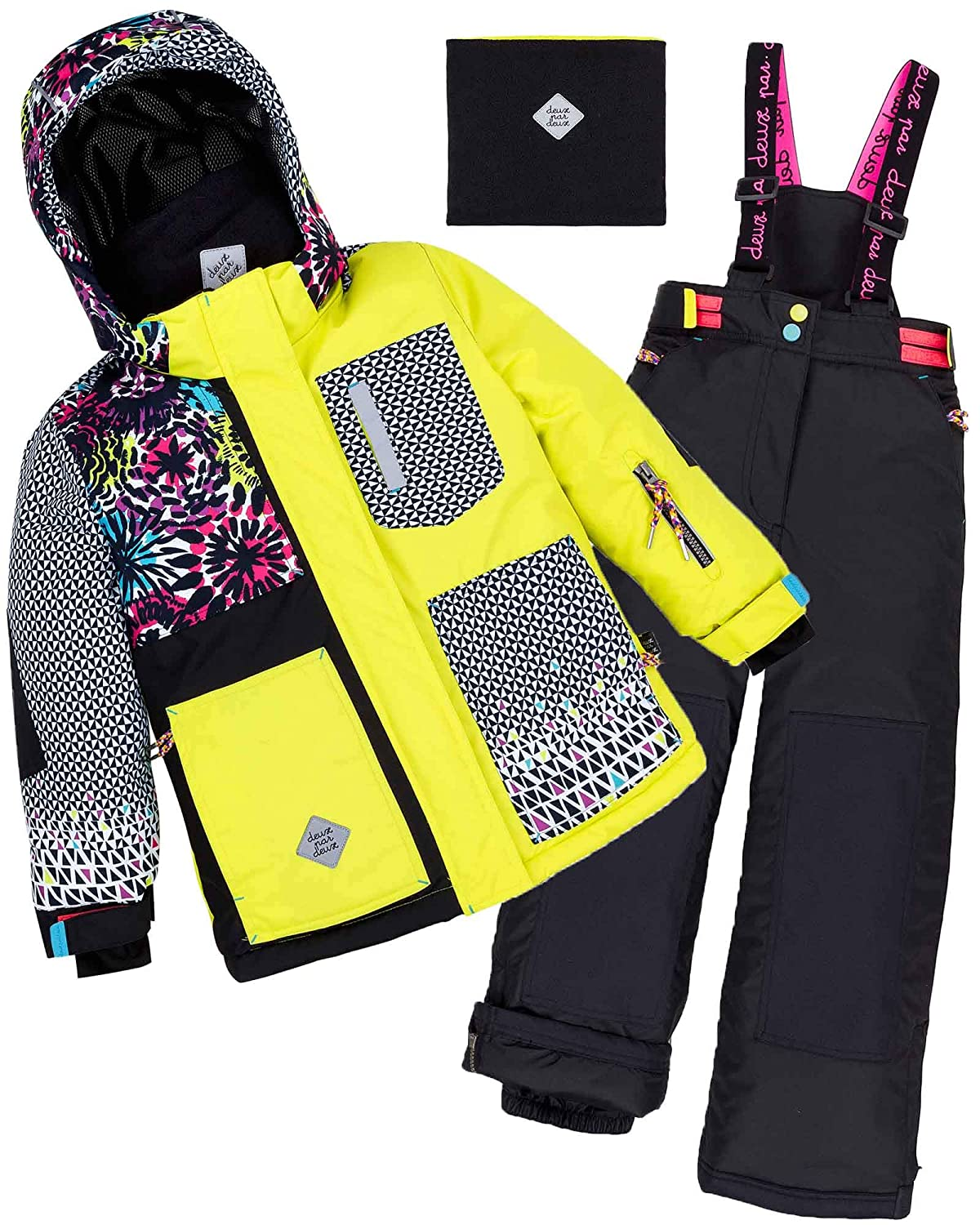 Deux par Deux Girls' 2-Piece Snowsuit Great Escape Sport Yellow, Sizes 4-14