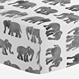Carousel Designs Gray Watercolor Elephants Crib Sheet - Organic 100% Cotton Fitted Crib Sheet - Made in the USA
