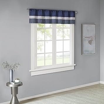 gray window valance light gray madison park amherst polyoni pintuck window valance navy 50wquot amazoncom