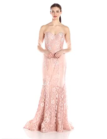 20a5cd882958 Jovani Women's Blush Pink Lace Dress at Amazon Women's Clothing store: