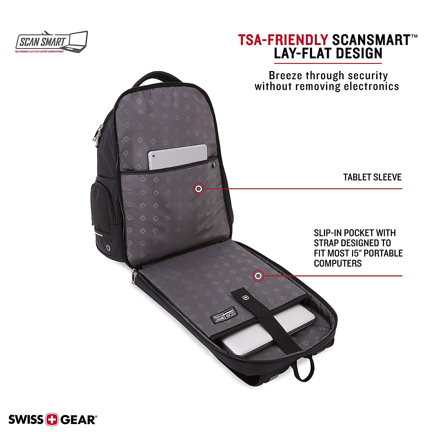 SWISSGEAR 5527 TSA FRIENDLY Computer Mens and Womens SCANSMART Super padding Backpack Black Swiss Gear 5527200417