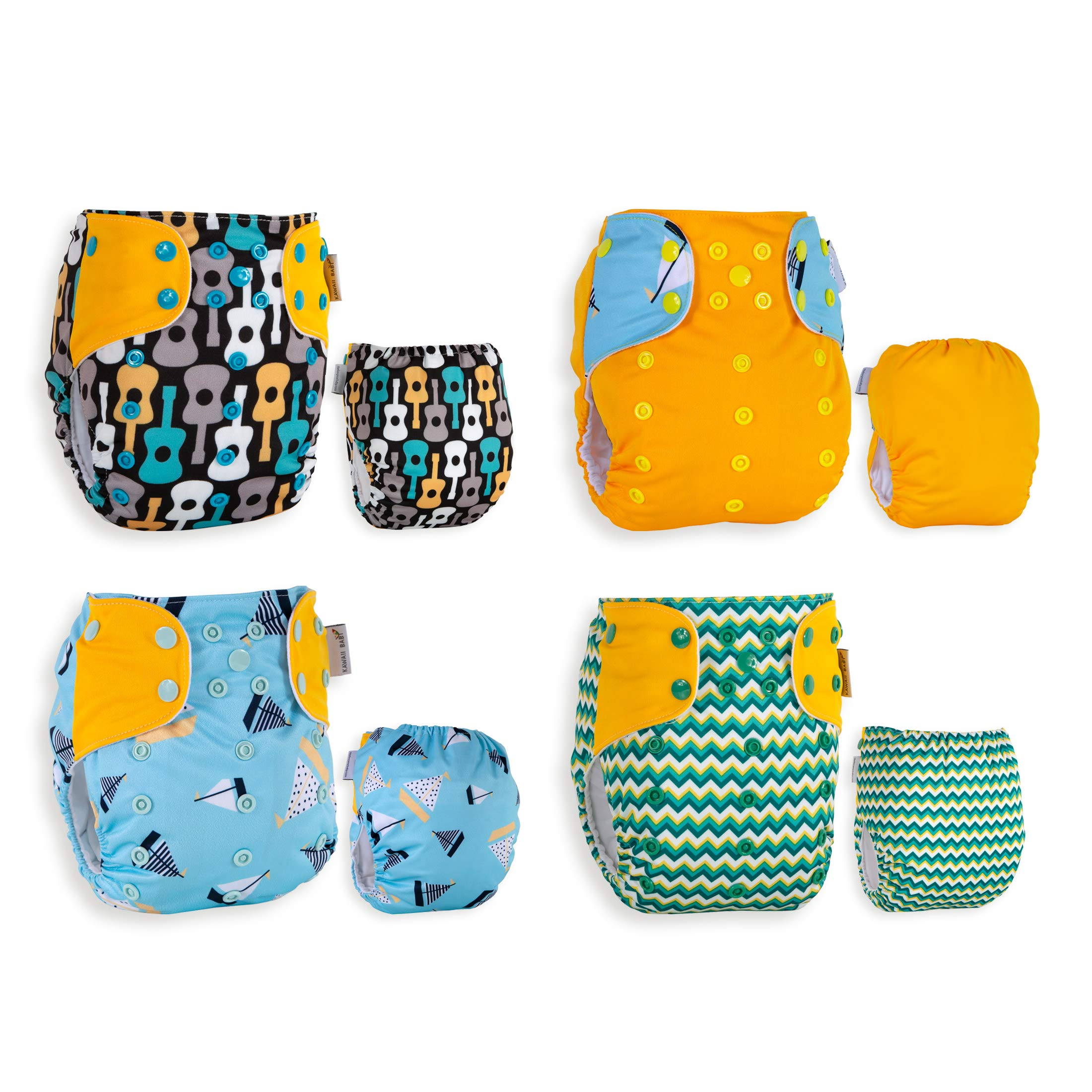 Best Seller! KaWaii Baby 20 One Size Printed Snap Cloth Diaper Shells/Spring Sunshine Theme/Reusable/Newborn to Toddler by Kawaii Baby (Image #5)
