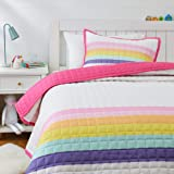 Amazon Basics Kids Rainbow Stripe 100% Cotton Reversible Quilt Bedspread - Twin, Rainbow/ Magenta Pink