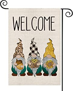 AVOIN Welcome Fall Leopard Buffalo Plaid Gnomes Hazelnut Sunflower Garden Flag Vertical Double Sized, Autumn Thanksgiving Holiday Yard Outdoor Decoration 12.5 x 18 Inch