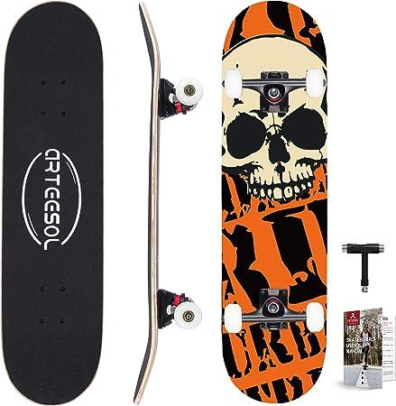 """31/"""" Skateboard Adult Kids Skateboard Beginners Double Kick Maple Fun Black UK"""