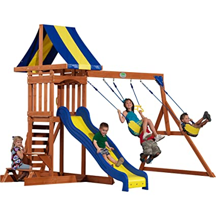 This Wooden Play Set Is Made From High Quality Cedar That Is Resistant To  Rotting And Decay. Featuring A Slide, Swings, And A Ladder To Keep Your Kids  Busy ...