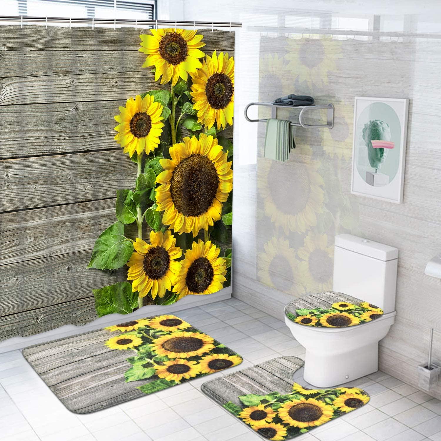 Pknoclan 4 Pcs Sunflower Shower Curtain Sets with Non-Slip Rugs, Toilet Lid Cover and Bath Mat, Rustic Wooden Plank Shower Curtain with 12 Hooks, Floral Waterproof Fabric Shower Curtain for Bathroom