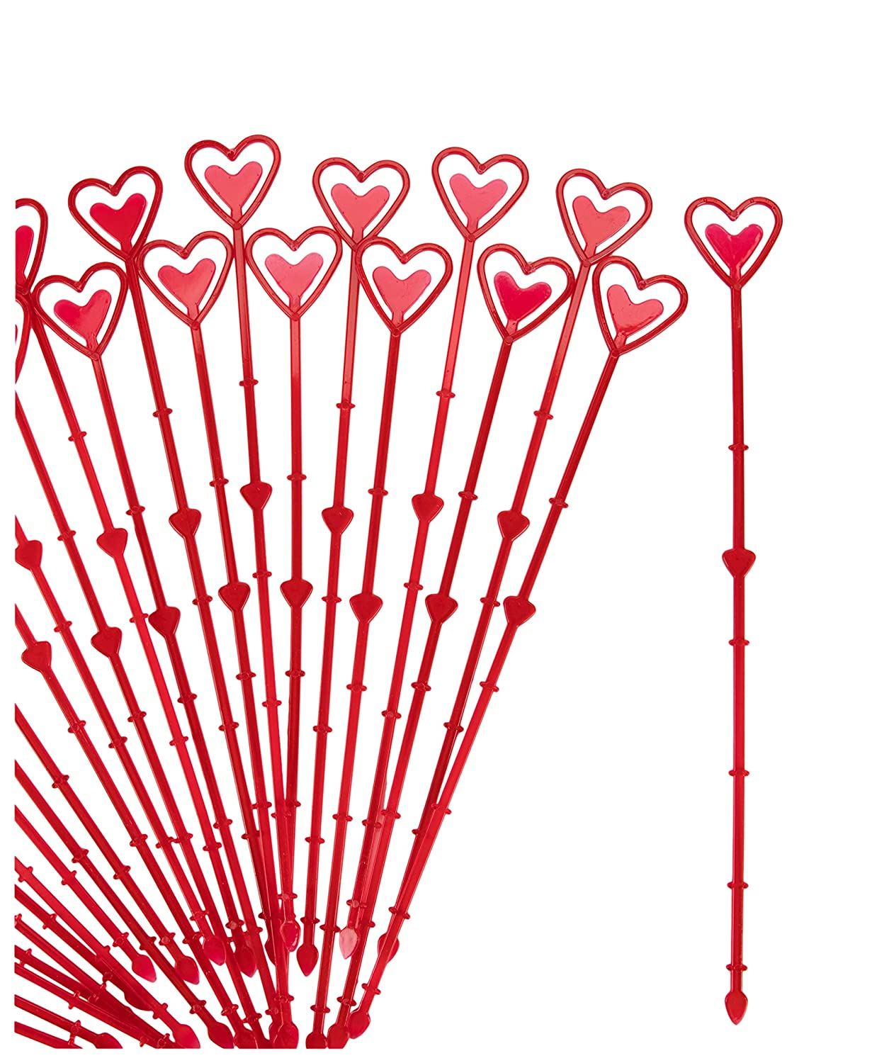 Floral Picks - 150-Pack Heart-Shaped Plastic Flower Arrangement Picks, Card Cardette Holders, Perfect for Valentines Day and Anniversaries, Transparent, 13.4 inches Juvale