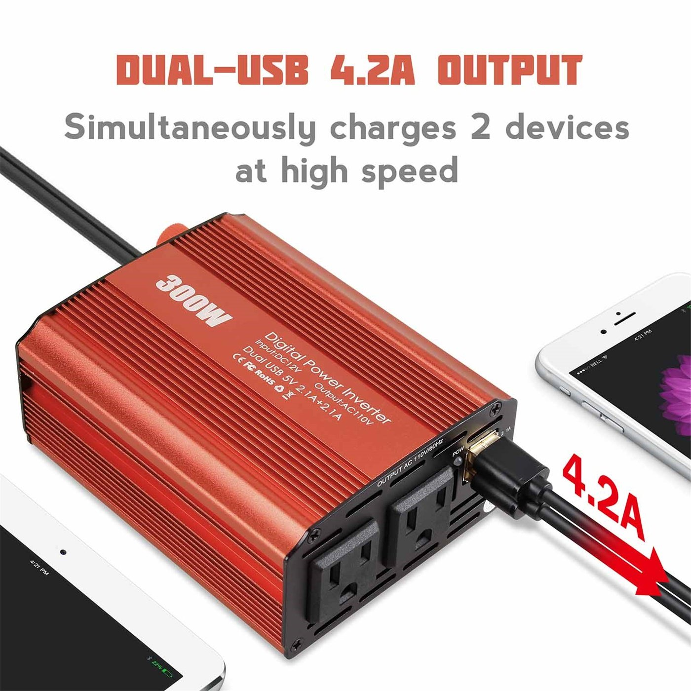300W Dual 110V AC Outlets Power Inverter Car DC 12V to 110V AC Car Inverter with Dual USB Charging Ports by Etio (Image #2)