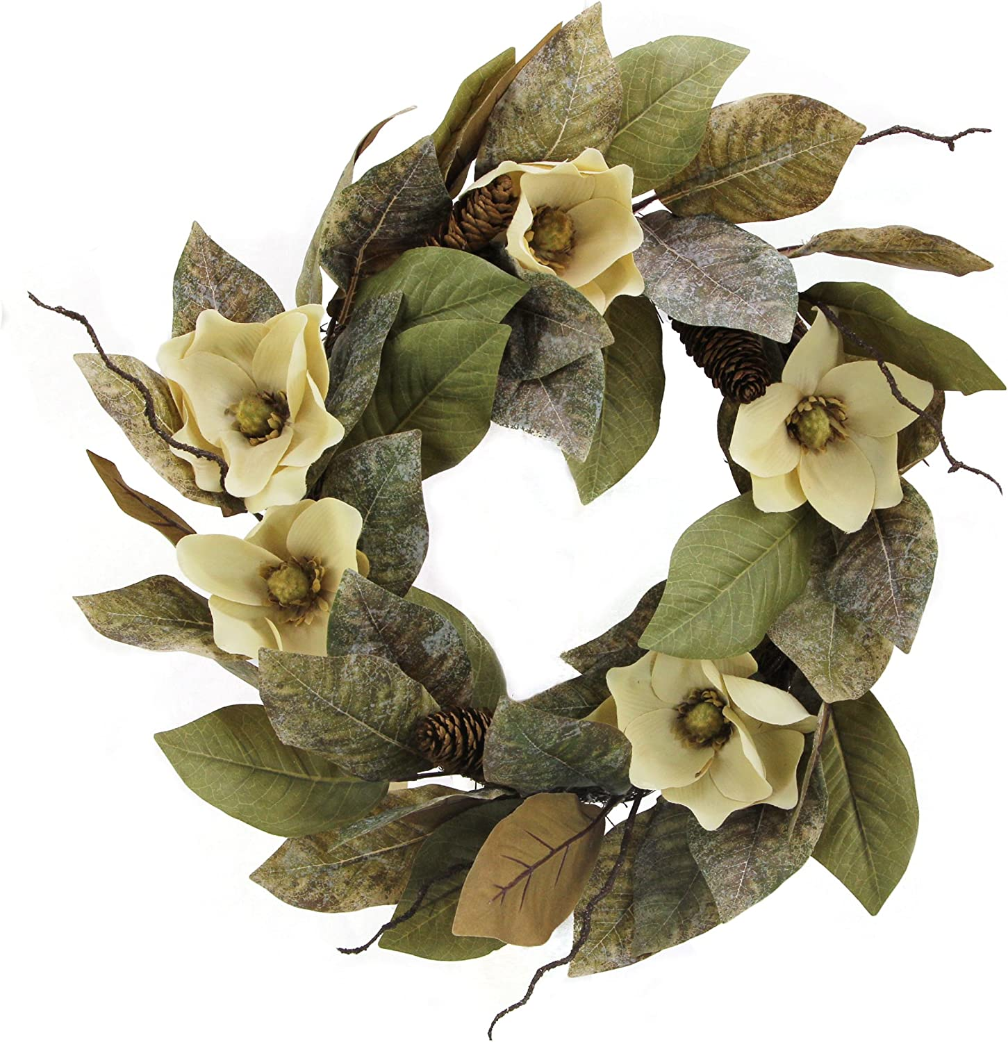 """Admired By Nature 24"""" Magnolia Pine for Home Office Front Door Wreath, Wall Hanging Arrangement Decoration"""