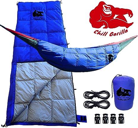 Chill Gorilla 30 °F Down underquilt, saco de dormir, & Pod sistema para