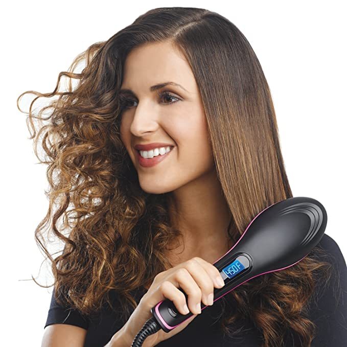 Simply Straight Ceramic Hair Straightening Brush, Black/Pink