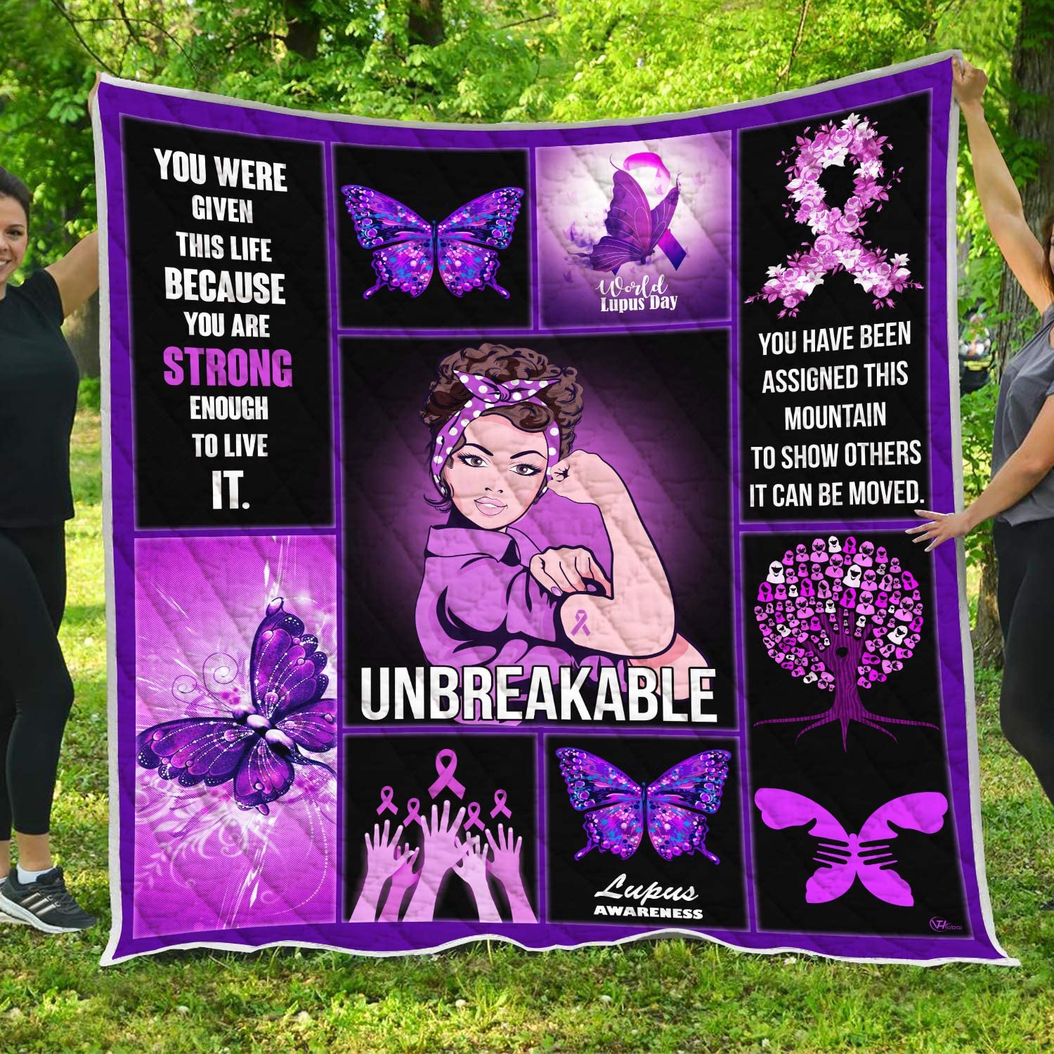 VTH Global Lupus Awareness Quilt Pattern Blanket All-Season Quilts Comforters with Reversible Cotton King Queen Full Twin Size Quilted Survivors Support Gifts