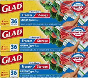 Glad Food Storage and Freezer 2 in 1 Zipper Bags - Gallon - 36 Count - 3 Pack