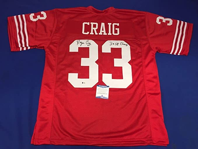 5f2e9e47a4f Roger Craig Signed Red San Francisco 49ers Football Jersey