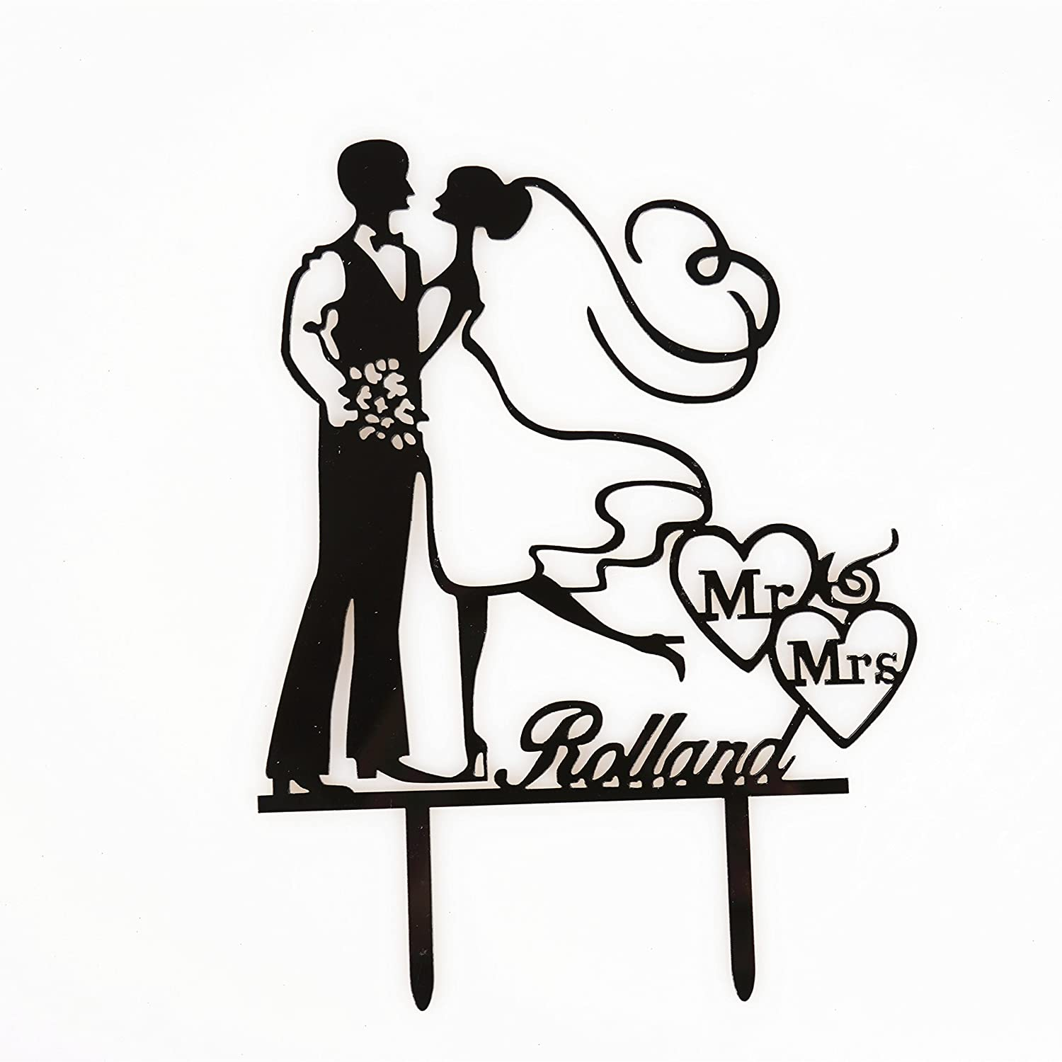 bride and groom cake topper mr mrs rolland arylic wedding cake Birthday Sheet Cakes with Roses bride and groom cake topper mr mrs rolland arylic wedding cake topper decoration amazon grocery gourmet food