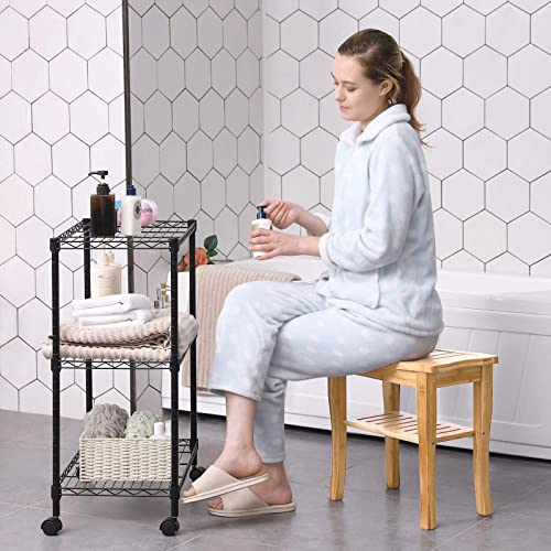 SONGMICS Bamboo Shower Bench Seat