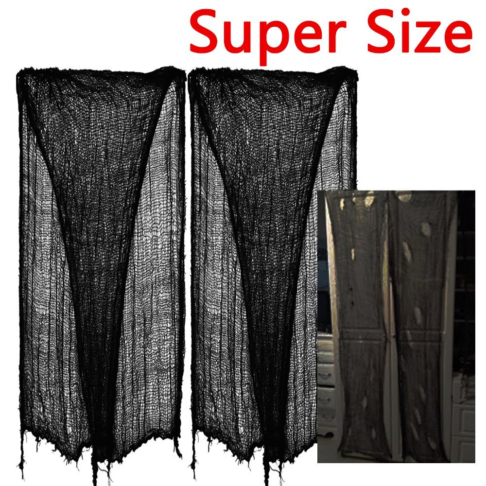 zhihu 180-Inch - 300-Inch Halloween Creepy Cloth Decoration, Black (2-Piece, 8 yards)