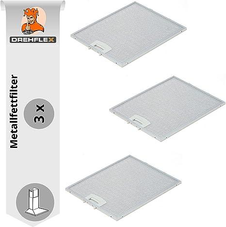 DREHFLEX AK117-3 - 3 filtros de grasa metálicos para campana extractora Bosch Siemens Neff (250 x 322 mm) para piezas 353110 00353110: Amazon.es: Hogar