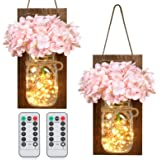 ODOM Rustic Wall Decorations, Hanging Mason Jar Sconces with Pink Silk Hydrangea Flowers and LED Fairy Lights for Kitchen, Be