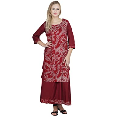 71c5845e39 Patrorna Women s Double Layer A Line Nighty Night Dress with Robe in Maroon  Print (Size