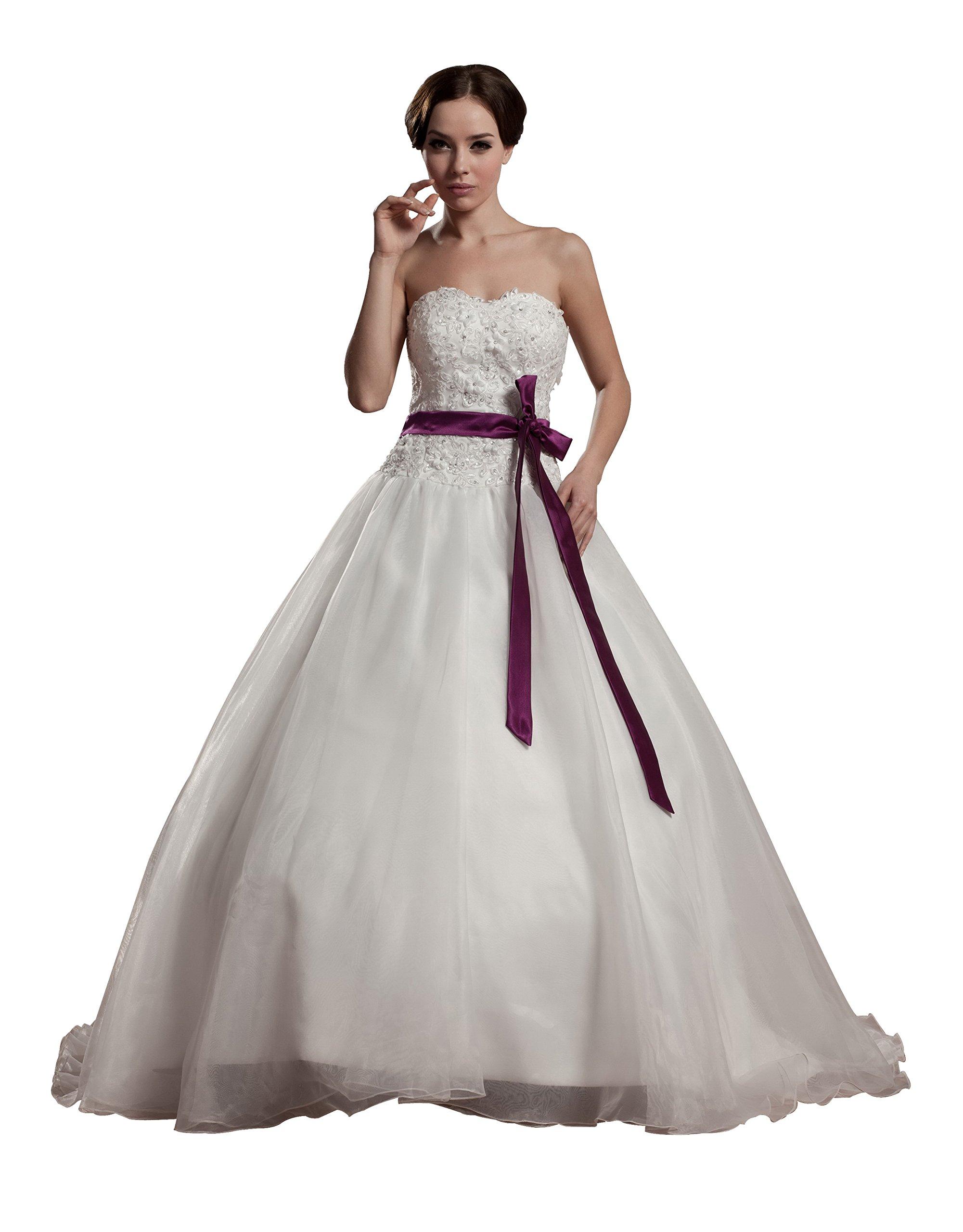 Vogue007 Womens Sweetheart Satin Taffeta Wedding Dress with Floral, White, 18