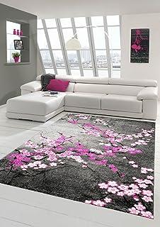 Designer Teppich Moderner Teppich Wohnzimmer Teppich Blumenmotiv ...