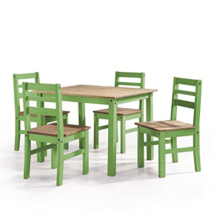 Manhattan Comfort Maiden Collection Reclaimed Traditional Modern 5 Piece  Pine Wood Dining Set, 4 Chairs and 1 Table Wood/Green