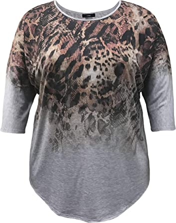 LEEBE Womens Plus Size Dolman Short Sleeve Print Top 1X-5X