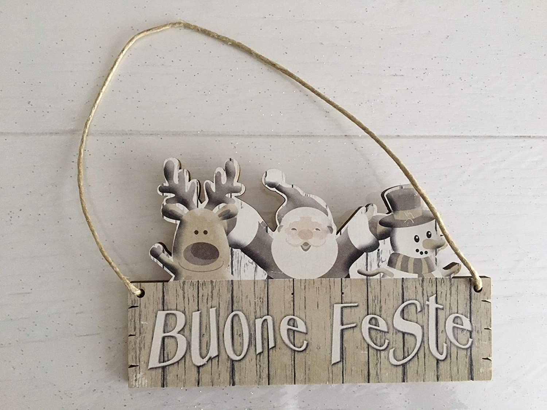 Buon Natale Shabby Chic.Targa In Legno Buon Natale Shabby Chic Made In Italy Cm 18x10 Amazon It Casa E Cucina
