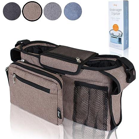 Amazy Bolsa organizadora carrito de bebé – Bolsa para cochecito de bebé con varios compartimentos, dos aislados para biberones (Beige)