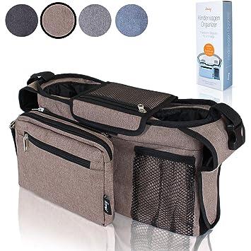 Amazy Bolsa carrito de bebé – Bolsa organizadora para cochecito de bebé con varios compartimentos, dos aislados para biberones (Marrón)