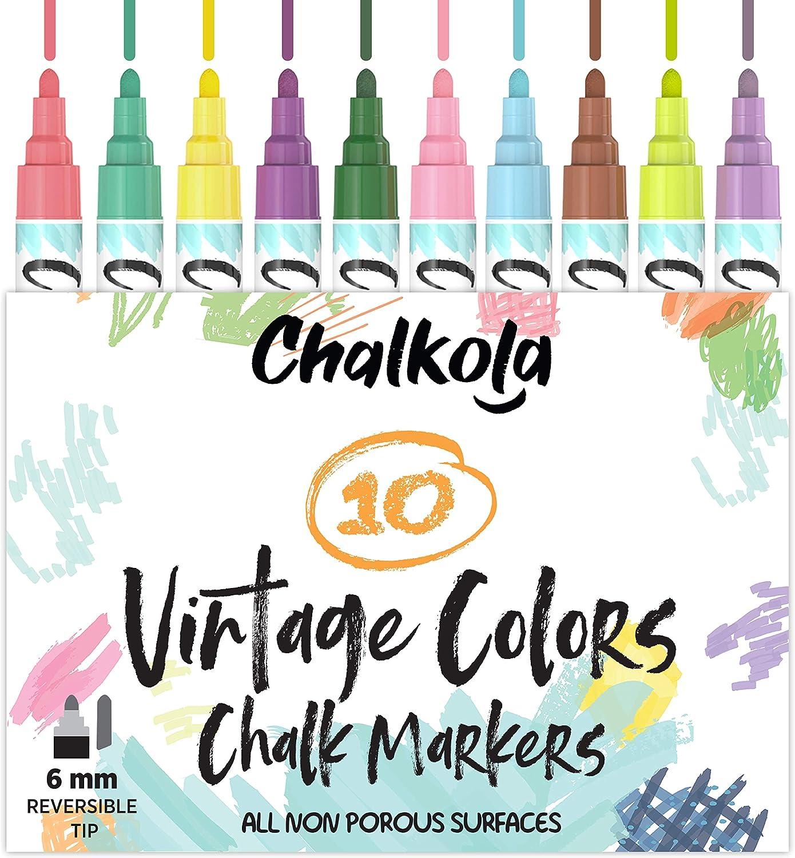 Liquid Chalk Markers for Chalkboard, Blackboards, Window, Bistro (10 Vintage Colors) - Bold Dry Erase Marker Pens | 6mm Reversible Bold & Chisel Nib : Office Products