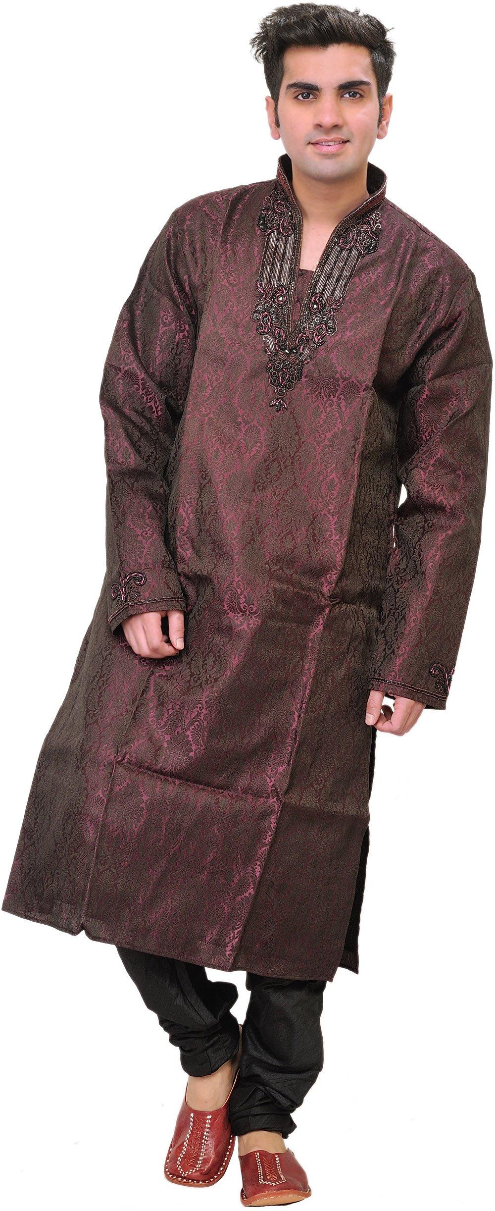 Exotic India tulipwood Self-Weave Wedding Kurt - Purple Size 38 by Exotic India