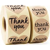 Kraft Paper Thank You Stickers Complete Bundle: 1000 pcs 1.58'' Big Heart Shape & 1.2'' Round Adhesive Labels | 2x500 per Roll