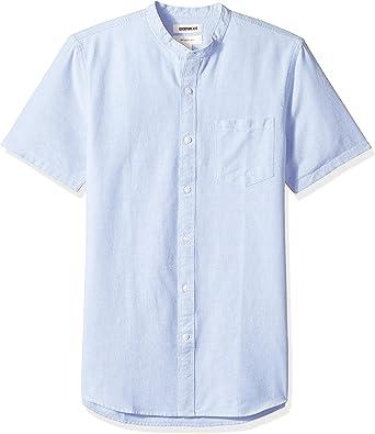 Marca Amazon - Goodthreads – Camisa Oxford con cuello en banda de manga corta y corte entallado para hombre