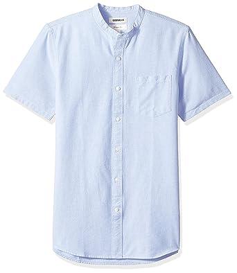 13c34e04cbadb5 Goodthreads Men's Slim-Fit Short-Sleeve Band-Collar Oxford Shirt, -blue