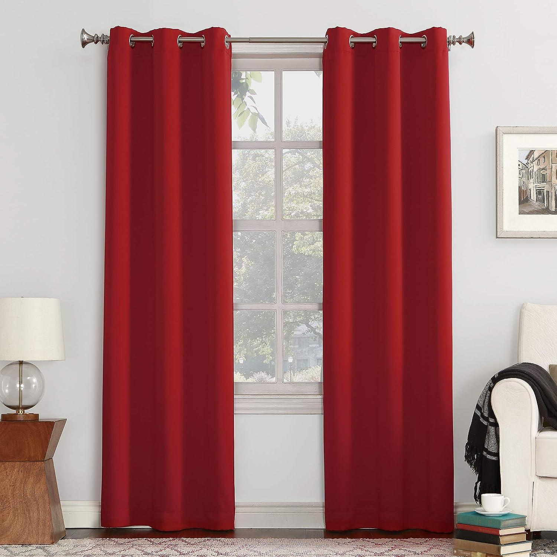"Sun Zero Easton Blackout Energy Efficient Grommet Curtain Panel, 40"" x 63"", Red"
