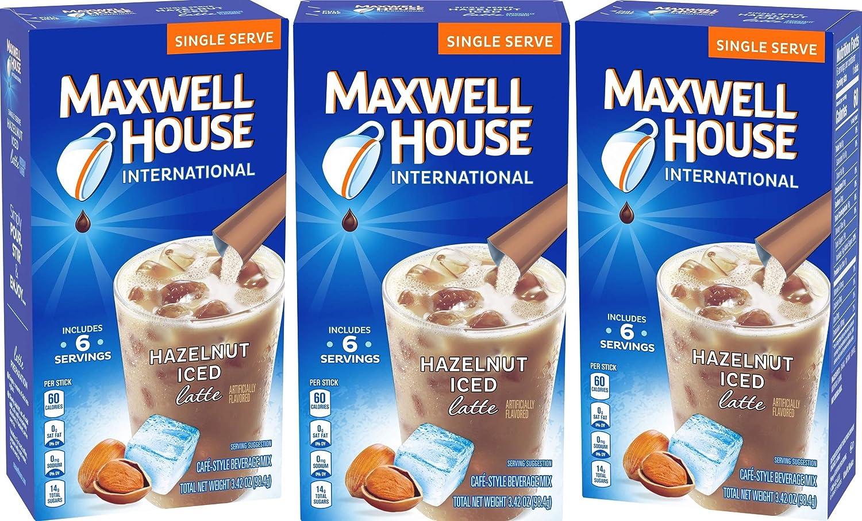Maxwell House International Iced Hazelnut Latte 6 Single Servings (3 Pack)