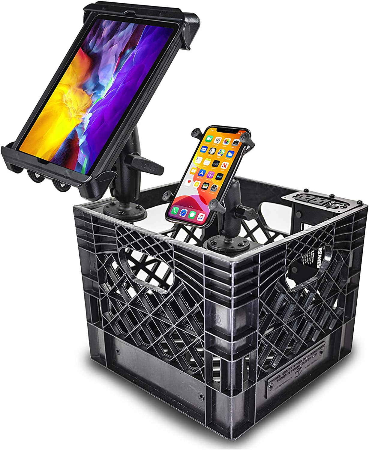 AutoExec AUE80017 Milkcrate with Phone Mount, Tablet Mount and Power Inverter for Organizing Your Vehicle
