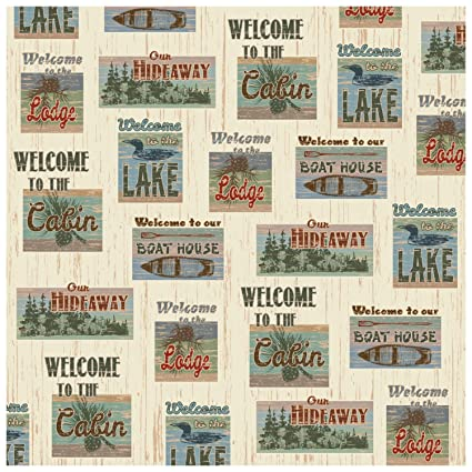 Amazon Rustic Fabric Patchwork Look Welcome To The Lake Lodge