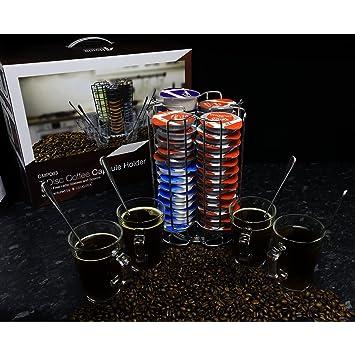 First4spares Soporte Giratorio monodosis de café T Disc para máquinas Bosch Tassimo, Capacidad para 52 monodosis, Incluye 4 Tazas con Asas: Amazon.es: Hogar