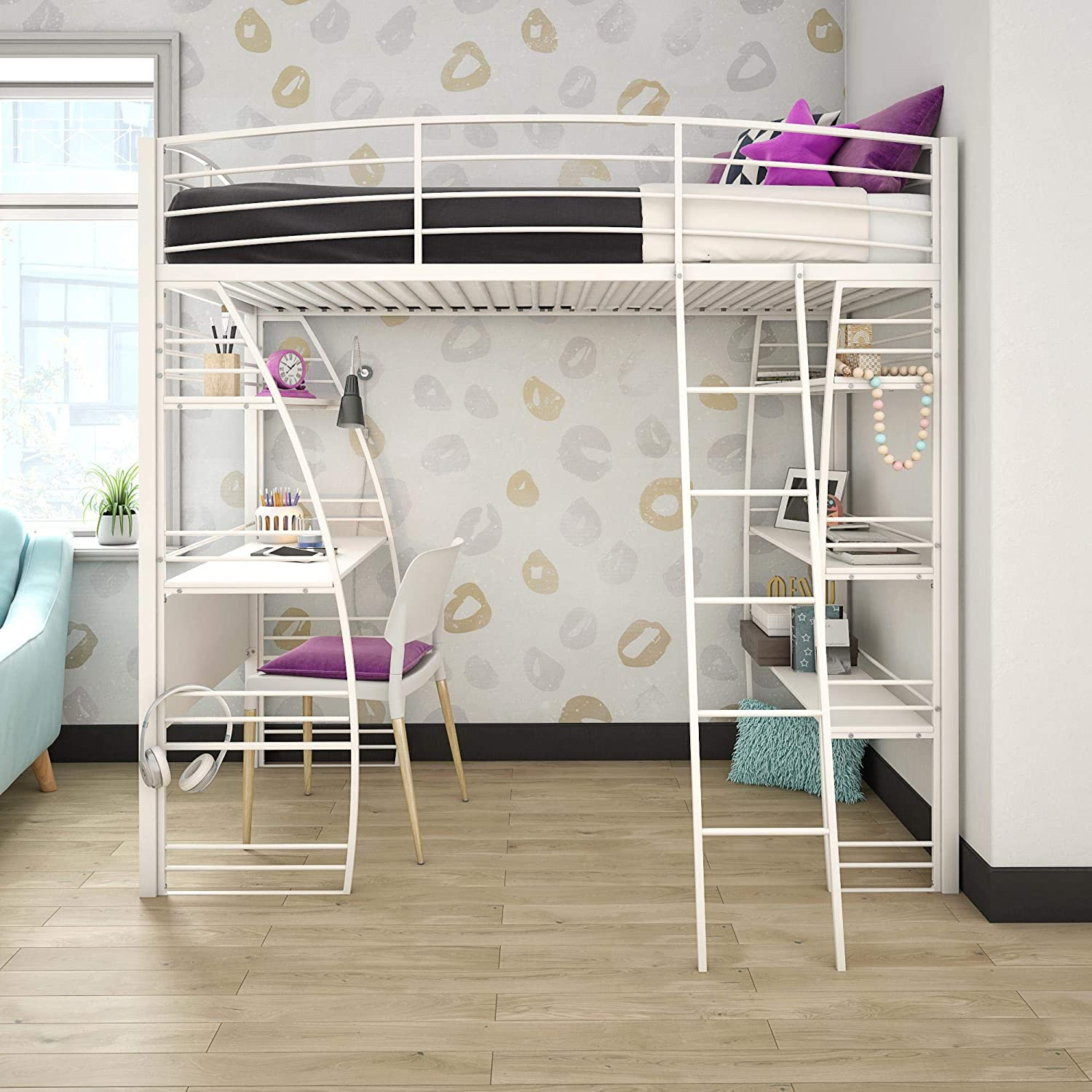 DHP Studio Twin Loft Integrated Desk and Shelves, White Bed,
