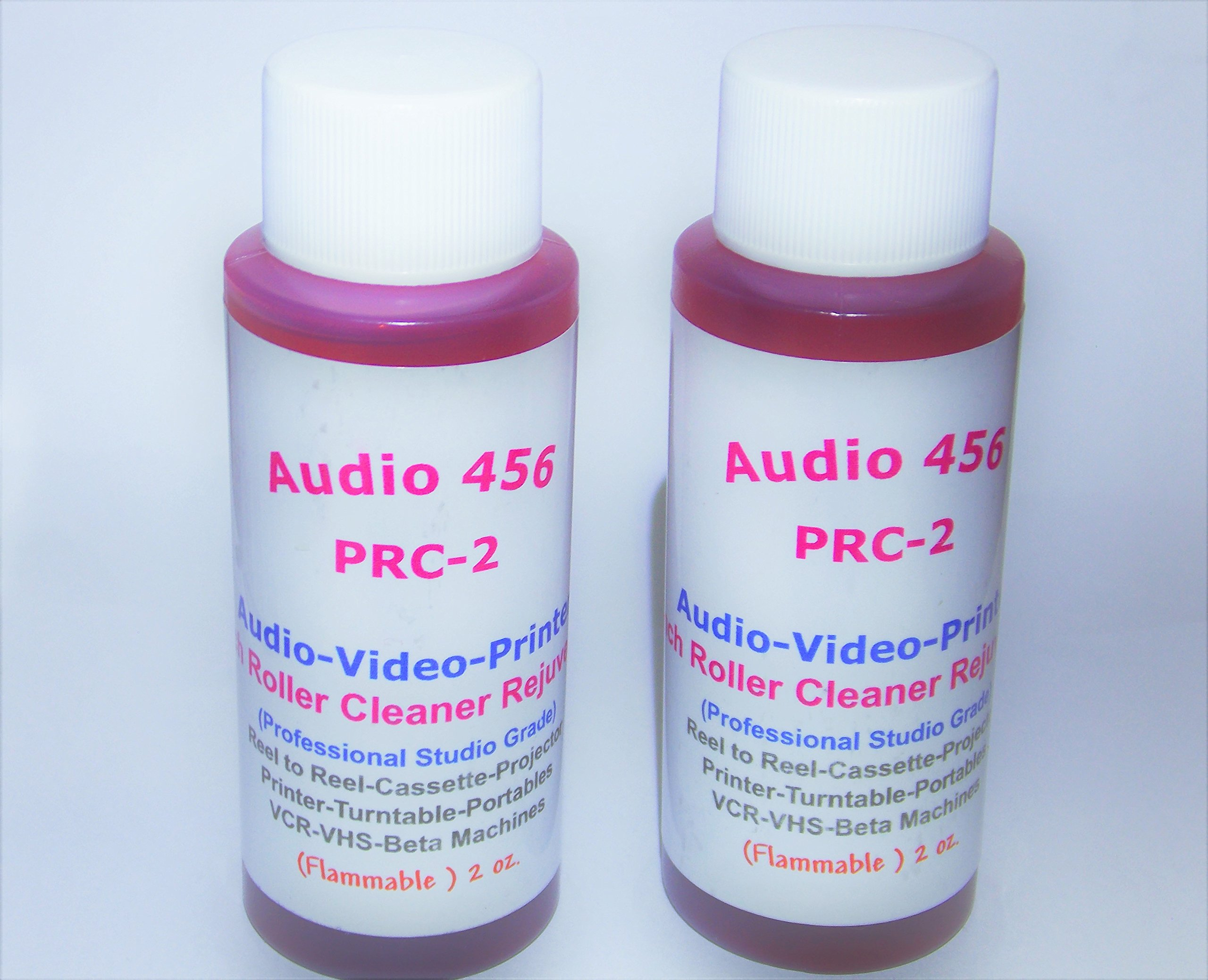 (2) Audio 456 (2 oz) PRC-2 Pinch Roller Cleaners Rejuvenators Conditioners Audio/Video Reel to Reel+Cassette Tape Deck+VCR/Beta Machine+Tape Echo+Printer+Projector+